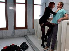 Jesse Carl is having fun with Maitresse Madeline in a public restroom. The mistress whips the guy and makes him lick her cunt and then destroys his asshole with a strapon.
