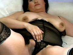 Big titted latina slut Claudia with stockings and big nipples sucking hard cock and fucking missionary and doggystyle with lucky stud.