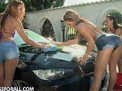 Aleska Diamond, Cindy Hope and Sandy are naked outdoors washing a car. They feed on each others cunts on the clean hood of that car and touch each other sensually.
