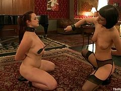 Two desirable and smoking hot sirens Bella Rossi and Cherry Torn are in action! they get naked and start eating each other's twats being slapped and tied up!