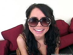This 19 year old cutie does whatever it takes to get a golden ticket. Her face gets fucked and her pussy pounded.