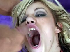 Gia Paloma's slutty blonde with an amazing body and a great need for hard cock and rough sex. Watch this babe being banged by this guy until her mouth's filled by cum.