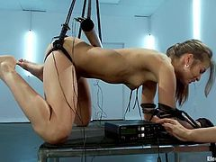 Delightful brown-haired babe gets tied up and tortured with electricity by Lea Lexis. Then Riley gets toyed with a strap-on from behind.