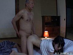 She was sleeping when this old bastard sneaked from behind and woke her up with his fingers in her pussy! Babe loved it so bad and gave it to him.
