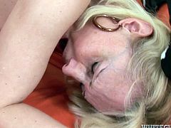 This mature whore loves the meaty cock of her black lover. She spreads her legs wide to let him pummel her missionary style. He pounds her mercilessly in and out loosening up her once tight hole.