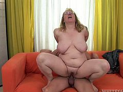 This old harlot with big tits loves to fuck! She climbs on top of her lover and fucks him hard in this position. Then he fucks her twat in missionary position.