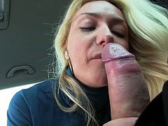 Cute Blonde Victoria Does A Blowjob And Fucks Stranger In His Car