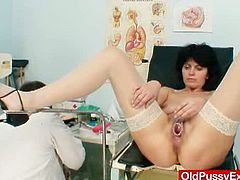 Nasty doctor gapes filthy granny's cunt in the hospital. Her arousing moves give this granpa the chance to get naughty and see what's inside her and show it to the world.