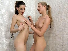 Candy C and Marry D take their gowns off and take a shower. These chicks are so sexy that they get horny watching at each other. So, they start to lick one another's boobs and pussies.