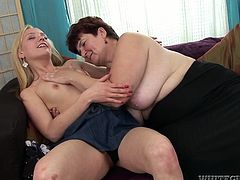 Although she is an old woman she still knows how to treat a girl. In this kinky lesbian sex video she acts really naughty and licks her lesbian friend's pussy passionately.