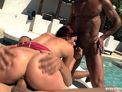 Sexually charged redhead bitch is serving two aroused men in a hardcore threesome. She rides hard stem on top getting her butt hole stretched wide as fuck. Meanwhile she sucked solid prick deepthroat. Awesome anal fuck scene presented by Private production studio.