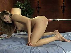 Adorable cutie Ashlynn Leigh is having some fun in her room. She moves her legs wide apart and allows some man fuck her vag with a fucking machine.