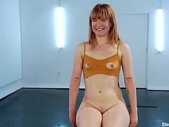 Redhead girl gets tied up by her blonde mistress. Then she gets her pussy toyed with a vibrator and tortured with electricity.