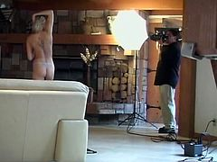 Hot brunette girl is having fun with some dude in the living room. Watch this behind the scenes video and see how porn movies are created.