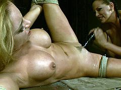 21 Sextury xxx clip provides you with a really great femdom action. Bitchie and booty brunette in black latex dress and boots ties up busty blondie with ropes. She's ready to fist her wet cunt right on the wooden table to make this dyke groan of delight.