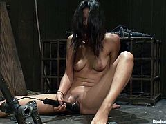 Two stunning brunettes get bonded and toyed