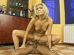 Romanian slut Romana with small tits getting fucked cowgirl style and doggystyle by a horny rich man in his apartment in Bucharest.