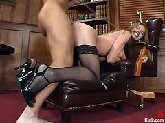 A very hot secretary in stockings is the one having rough hardcore sex in a domination session in the office where her pussy is fucked hard by her boss.