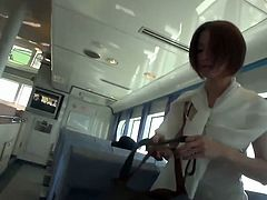 This skinny Japanese girl is on a ferry. She's not going anywhere specific, she just want to flash her tiny tits, pussy and ass while she's on it. She's an exhibitionist.