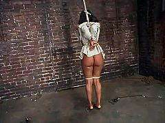 The ebony girl Sinnamon Love is going to be tied up, toyed and dominated in this bondage video where she's placed in many different situations.
