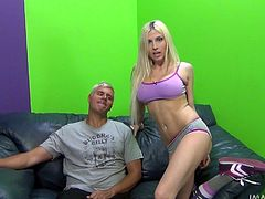 Well what's up with this sexy ass blonde? She seems a bit slutty and in need of a hard cock in her pretty mouth! No need to ask it twice because this guy is more then happy to give it to her. She kneels, opens her mouth and receives his dick between her lips. The dude goes rough on her, pulling the blonde's head