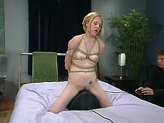 There's a girl who is going to be tied up and severely toyed so she can be exhausted with forced orgasms.