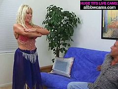 Voluptuous blonde MILF with huge boobs seduces a man for sex. This woman has got insatiable sex hunger so her lust for sex is probably at the edge of obsession or sickness. The more the better when woman is addicted to sex.
