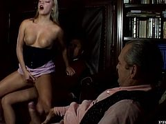 Real hot threesome pleasures with a desirable sex doll Ellen Saint! She goes for two huge cocks and one of them is an old fart!