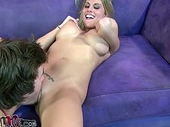 Porno Dan is feeling so lucky to fuck this delightful blond honey Charisma Cappelli! She takes him for a hot head and then he invades her muff.