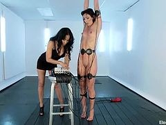 Brunette Wenona gets bounded by kinky Isis Love. After that she also gets hit with electricity and toyed with a vibrator.