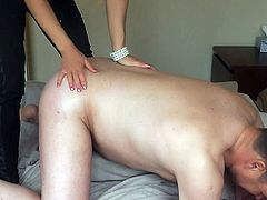Blond girl strapon banging