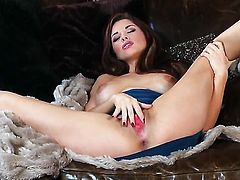 Sabrina Maree with big tits and smooth muff touches her slit and tits gently
