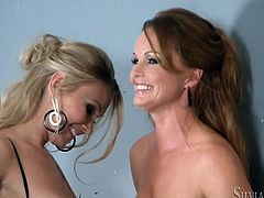 These gorgeous babes are two of the prettiest chicks you'll ever see. The girls act really naughty in this hot lesbian sex scene. At first, they tease each other tenderly and sensually. Then they lick each other's hot pussies.