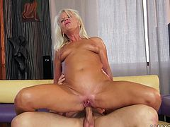 Slutty granny gets her old pussy licked and toyed with a vibrator. Then she gives a blowjob to a dude and gets her ass destroyed.