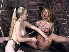 The blonde Jenni Lee is going to be tied up, toyed and dominated in this bondage video where she's placed in many different situations by another girl.