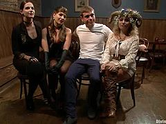 Two hot bitches Aiden Starr and Bobbi Starr are playing role play games with some guy in a basement. They pretend to be vampires and torment the stud before fucking his ass with a strapon.
