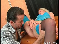 This tremendous blonde tall chick likes ardent cock riding right on the wooden table, Hot chick is rather flexible and bends over for getting poked in her tight asshole from behind.Enjoy!