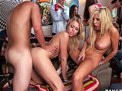 Rose, Tasha Reign, Zoey Monroe and other girls are having some fun with their BFs at the party. They show their nice bodies to the guys and then enjoy sucking and riding their schlongs.