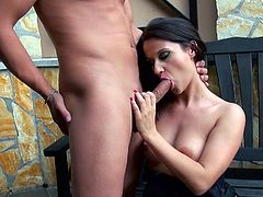 Brunette MILF bombshell poses in sexy lingerie and black nylon stockings in front of the camera. This woman has got hell seductive appeal. She takes massive hard dick in her mouth. She sucks the rod demonstrating awesome skills. Then sexy woman gets her tasty pussy licked actively.