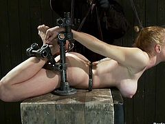 Darling the kinky blonde sits on a bondage chair. She gets her ass and nipples tortured. Then she also gets her pussy toyed with a vibrator.