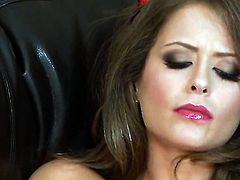 Emily Addison with huge melons and trimmed muff takes sex toy up her love box after sexy striptease