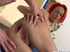 Nasty redhead slut toys her ass with glass dildo and gives a blowjob. Later on she gets her ass licked and fucked rough.