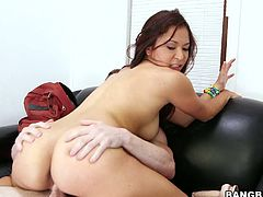 This kinky and playful Asian lust Janelle James gets on that huge cock with so much hunger! She makes him sweat and sweats herself in some hot poses!