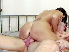 Gorgeous big titted milf Ava Addams is his friends fuckilicious mom. Lovely big titted woman sucks his hard young dick and then takes off her tight fit panties to be fucked. Watch her suck and fuck.