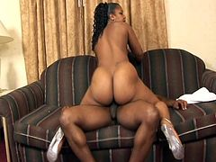 Chubby ebony slut Chyna T gives blowjob and fucks doggystyle with her lovely wet pussy. The thug gets to fuck this awesome little bitch.