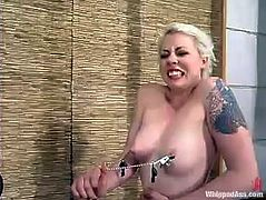 Kym Wilde is having fun with salacious blonde Lorelei Lee. She binds and pinches Lorelei and then beats her and fucks her snatch with a dildo.