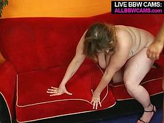 Naughty BBW babe stands on her all four getting rammed hard from behind. After hardcore doggy style fuck chubby hoe gets nailed missionary style.