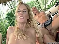 These sexy porn stars all head to a famous resort, to fuck and enjoy the sights. Belladonna has her eyes set on two chicks and she rubs their tits, and sucks their nipples. Jane Darling and Ashley Long suck cock and ride it.