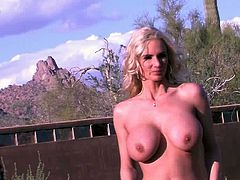 Adorable babe with big tits Allie Chase amazes with her nude solo show