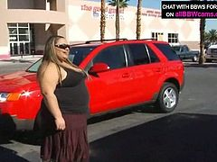 Horny dude picks up fat ass bitch at the parking lot. When they are in the studio slutty BBW woman takes off her clothes in front of the camera. She takes hard dong in her mouth sucking the stem like tasty lollipop.
